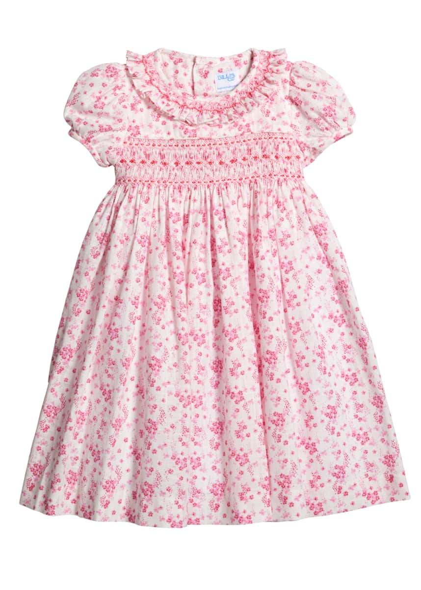Luli & Me Coral Floral-Print Smocked Dress, Size 4T-3