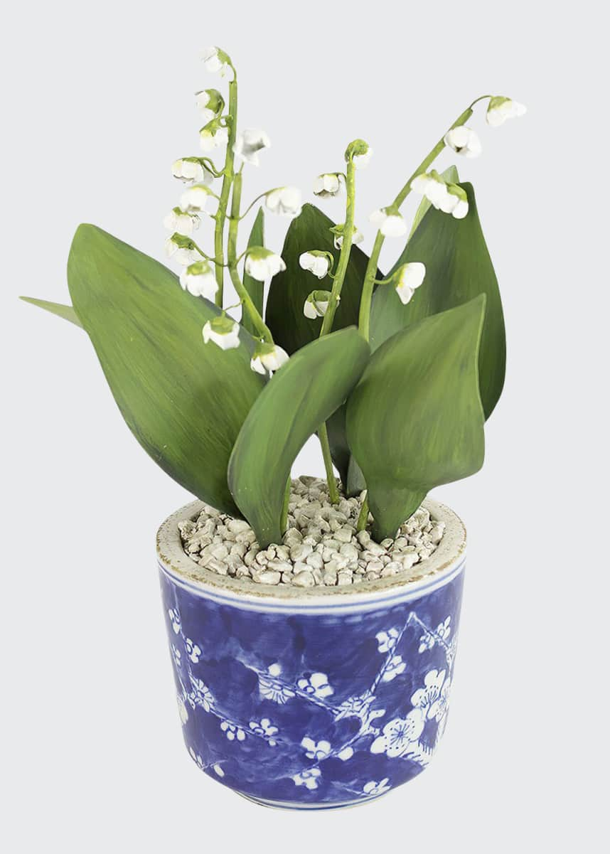 Charlotte Moss for Tommy Mitchell Lily of the Valley May Birth Flower in Ceramic Pot