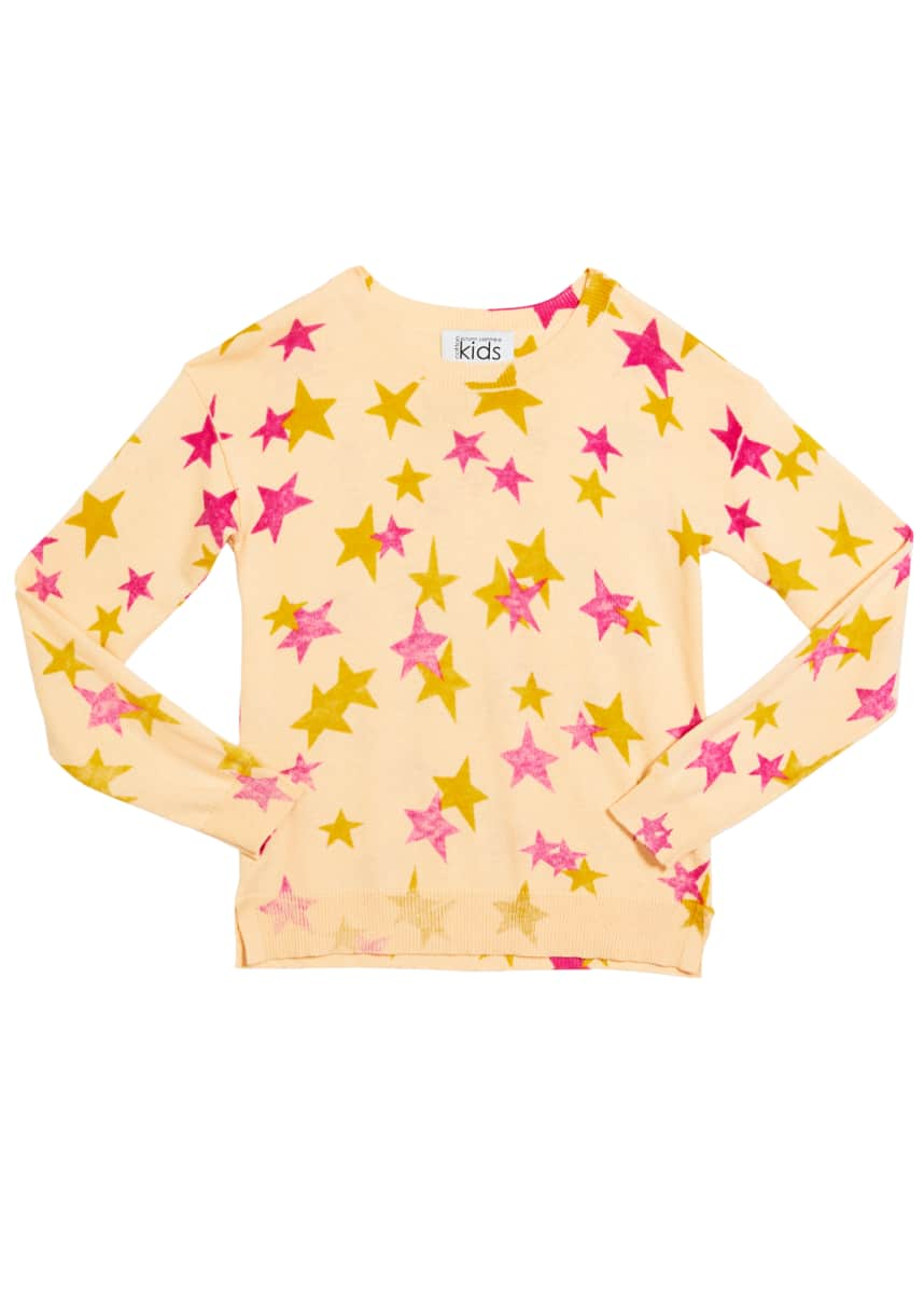 Autumn Cashmere Girl's Inked Star-Print Drop Shoulder Top, Size 8-16