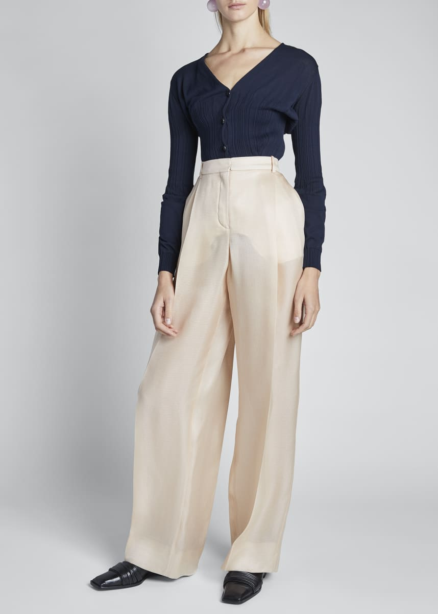 Nina Ricci Silk Gazar High-Rise Wide-Leg Pants
