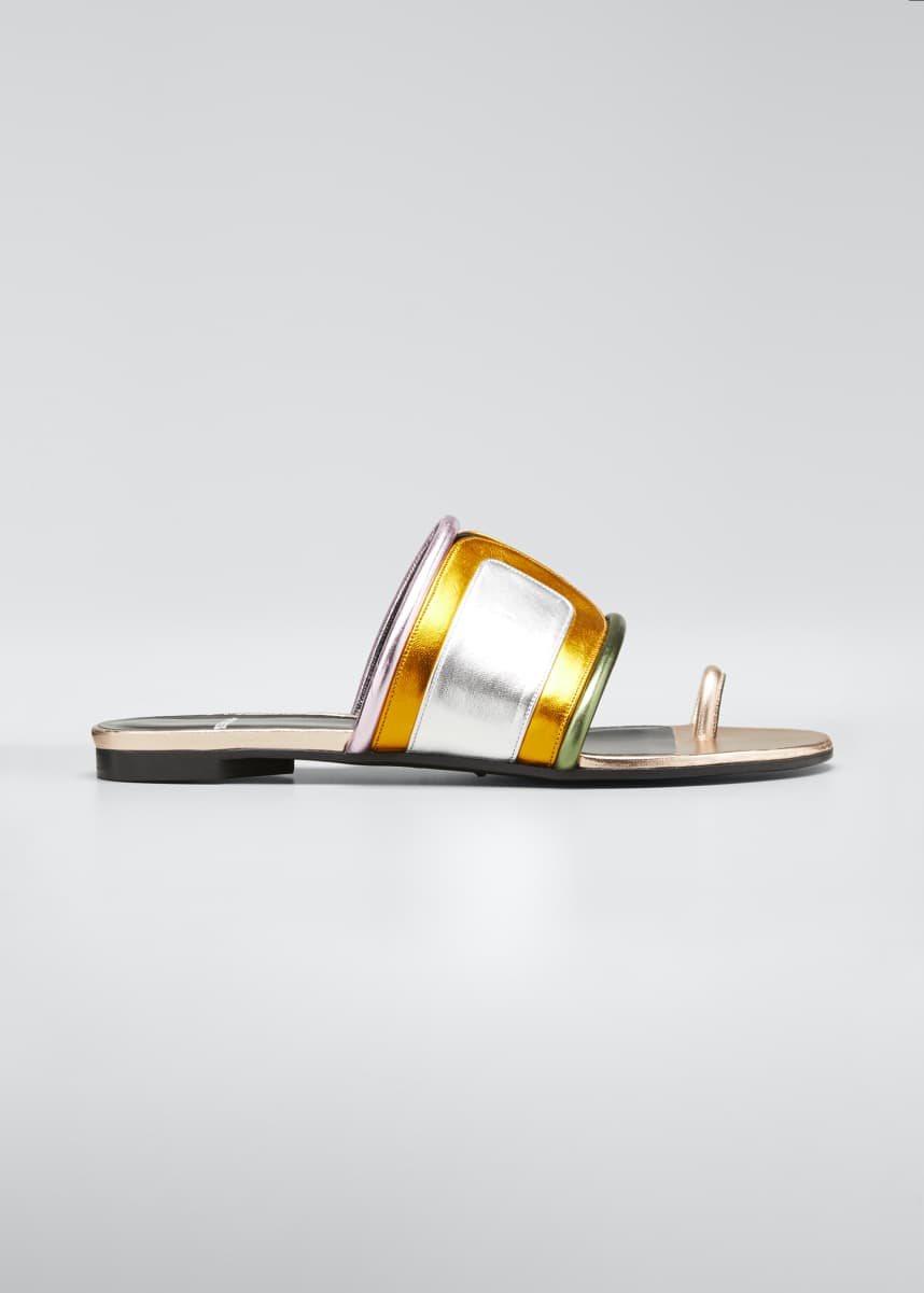Pierre Hardy Targa Metallic Colorblock Slide Sandals