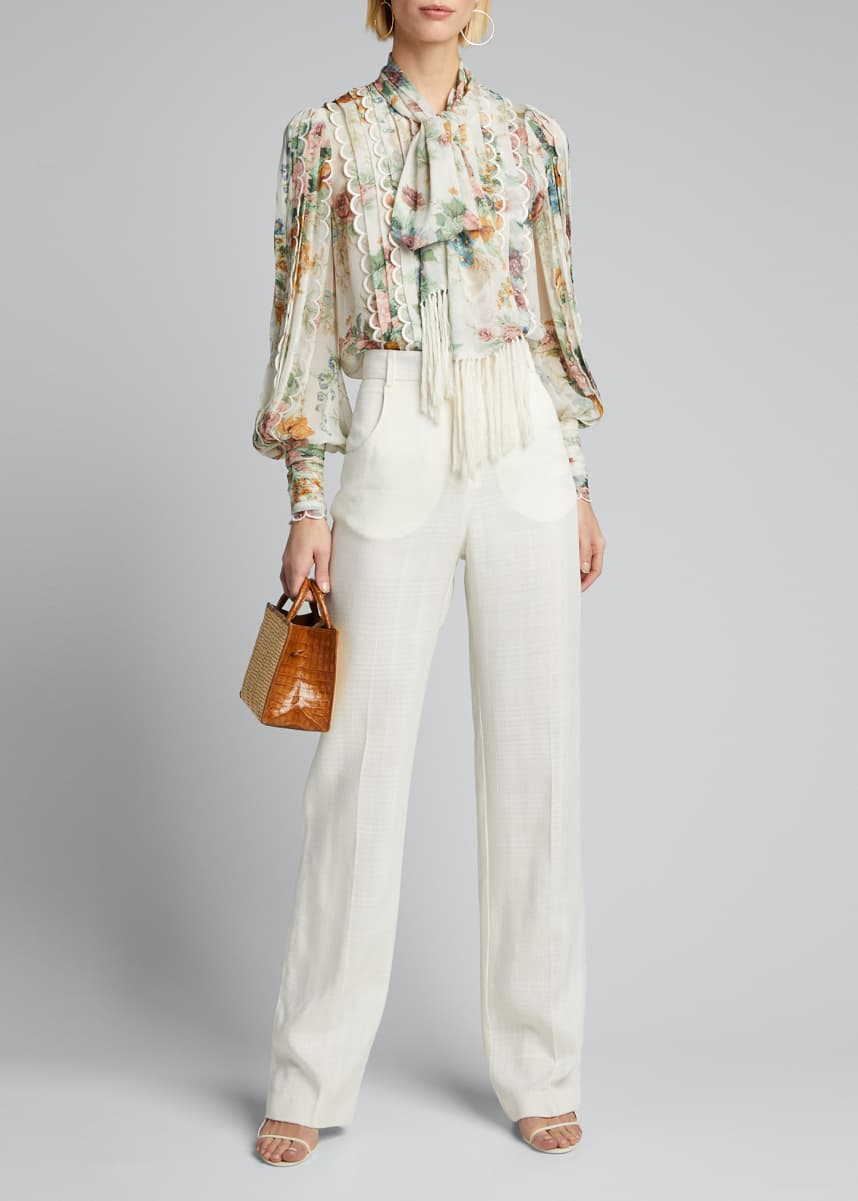Zimmermann Wavelength Scalloped Tie-Neck Shirt