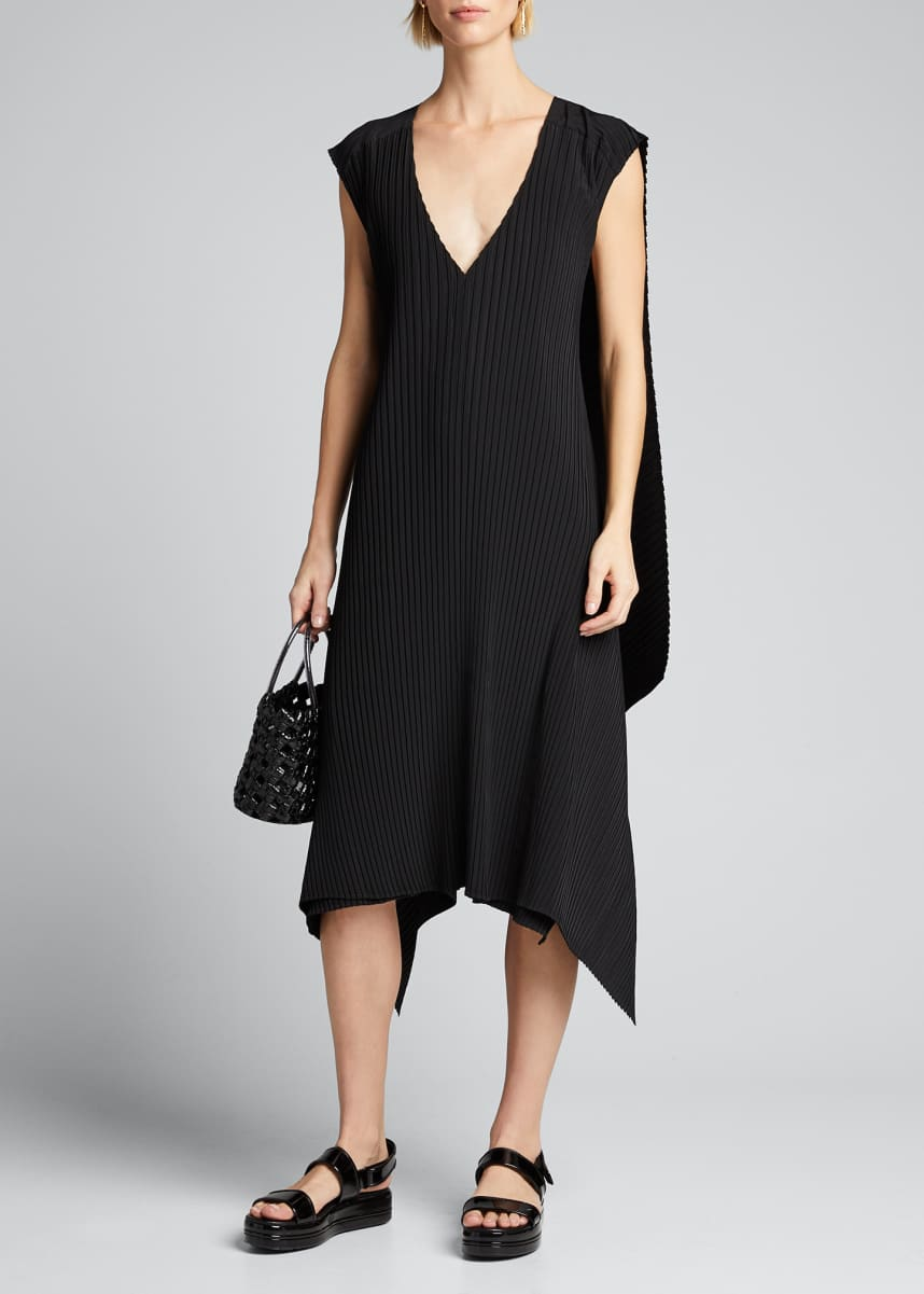Issey Miyake Caped Cuddle Pleated Handkerchief Dress