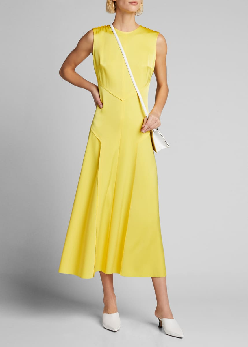Jason Wu Sleeveless Crewneck Satin Midi Dress