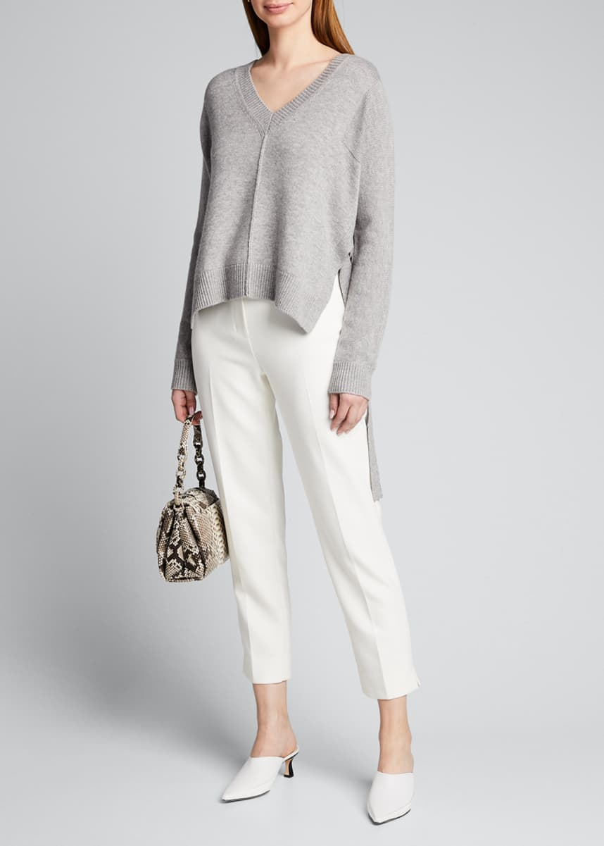 Jason Wu V-Neck Wool-Blend Top with Side Ties