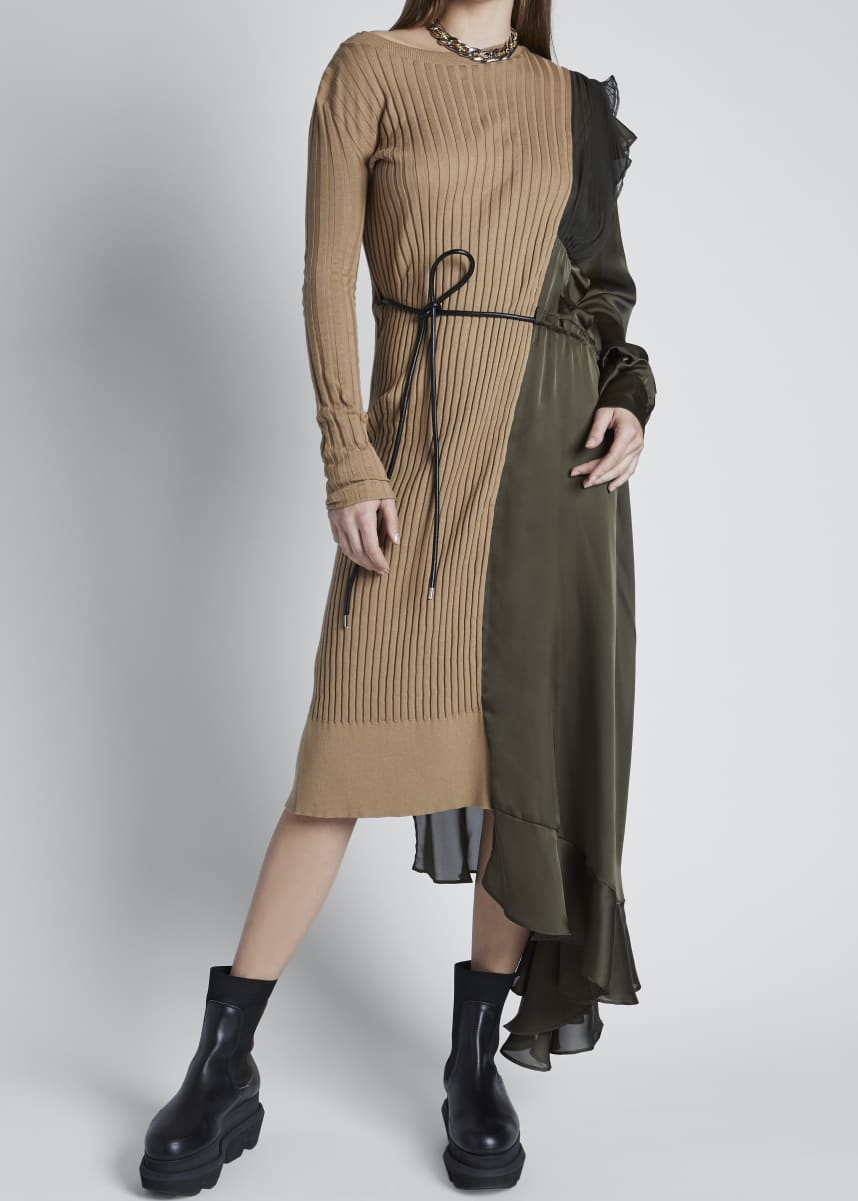 SACAI Knit Chiffon Combo Midi Dress