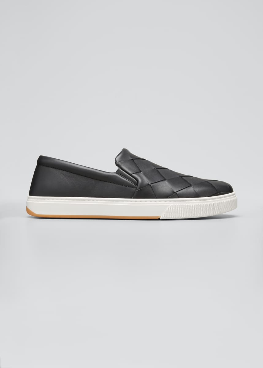 Bottega Veneta Men's Woven Leather Slip-On Sneakers