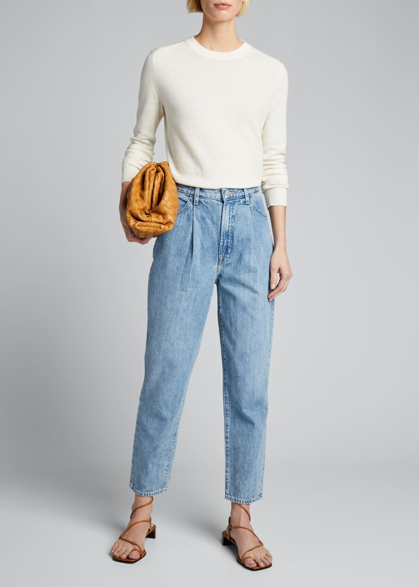 J Brand Pleated-Front Tapered Jeans