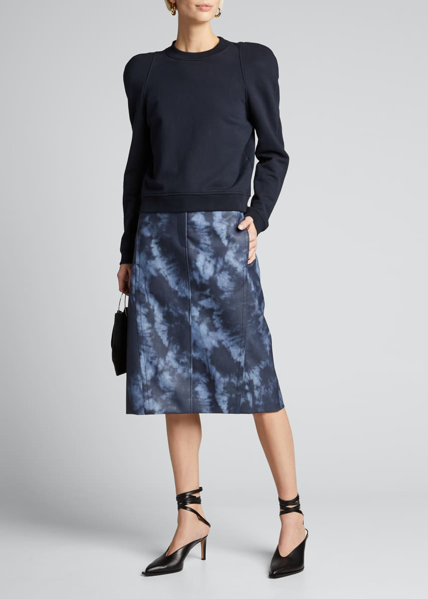 Tibi Sculpted-Shoulder Sweatshirt