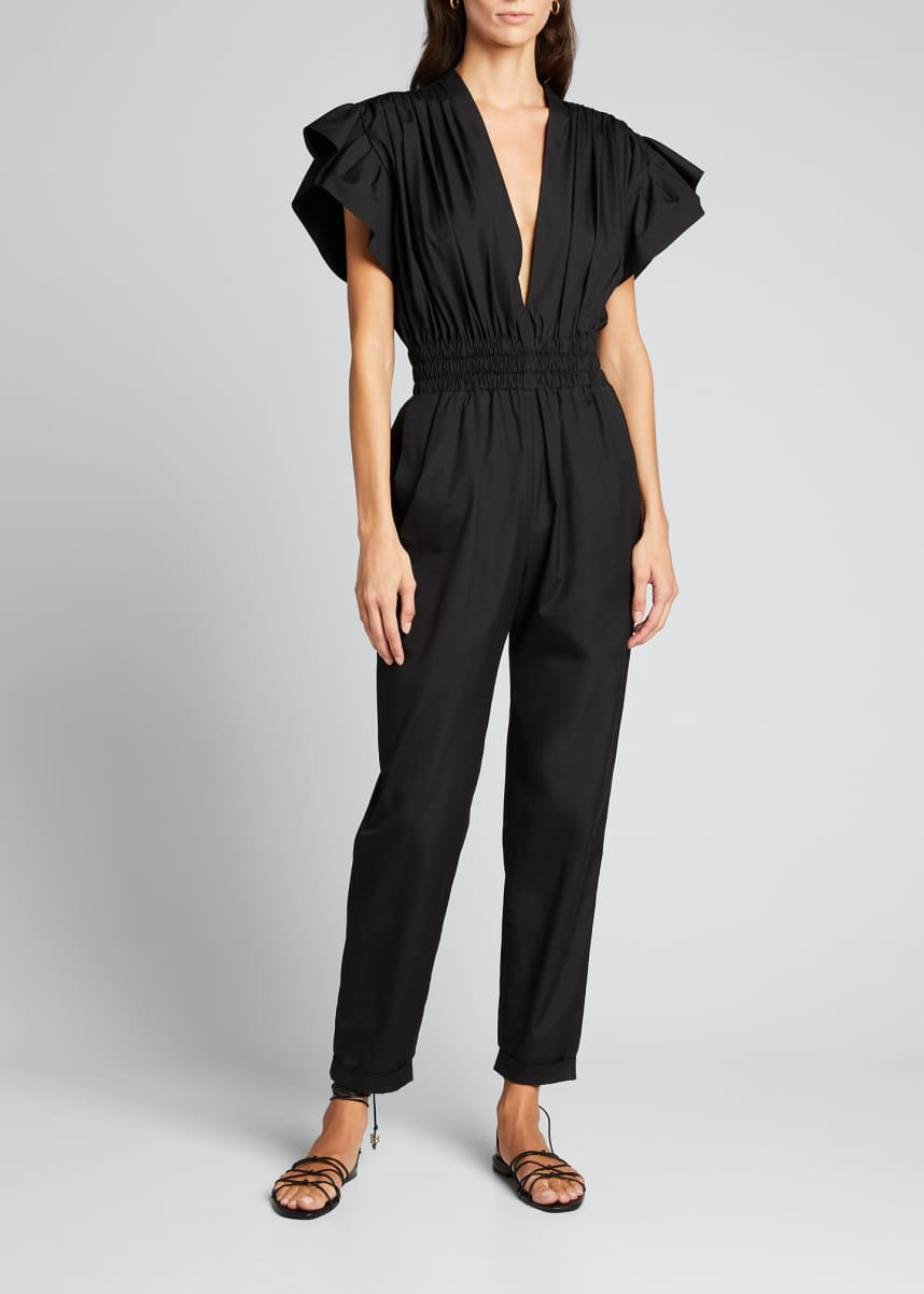 Iro Pleona Gathered Short-Sleeve Jumpsuit