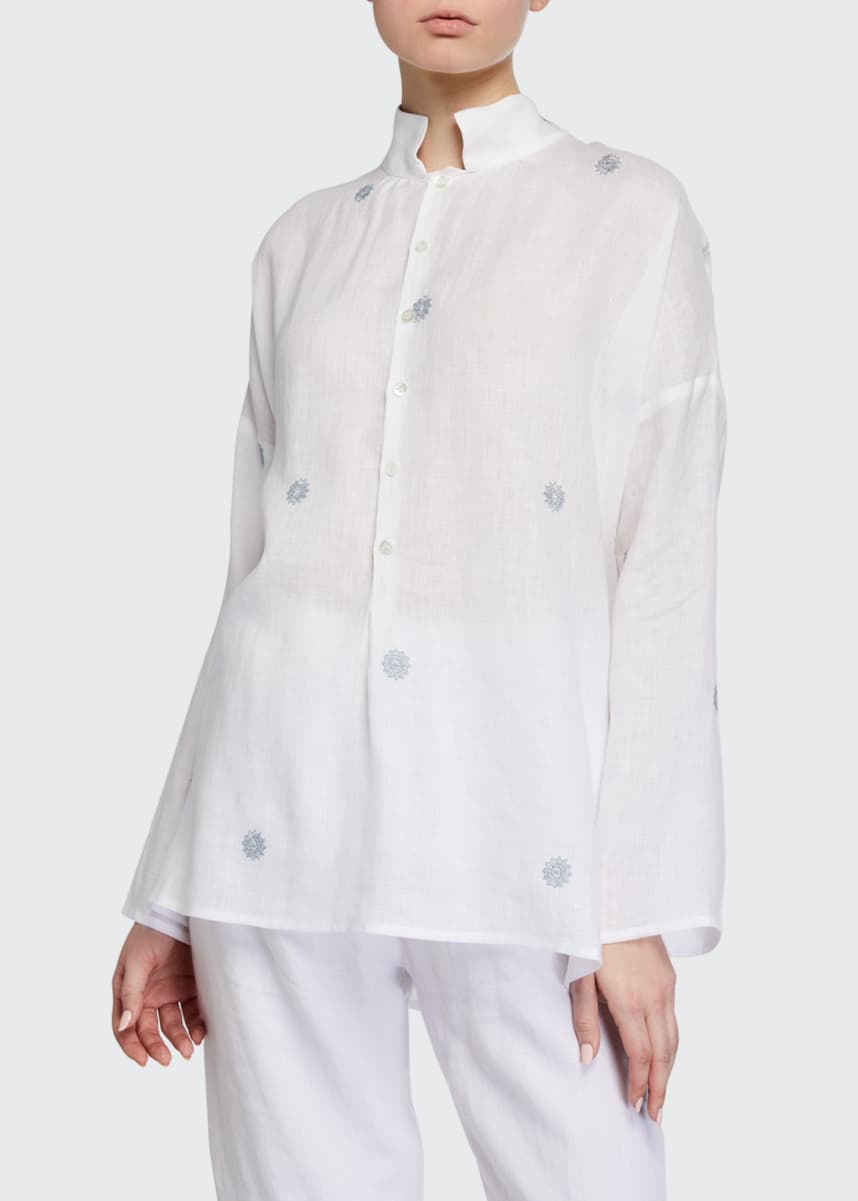 Eskandar Slope-Shoulder Wide A-Line Smock Shirt - Long