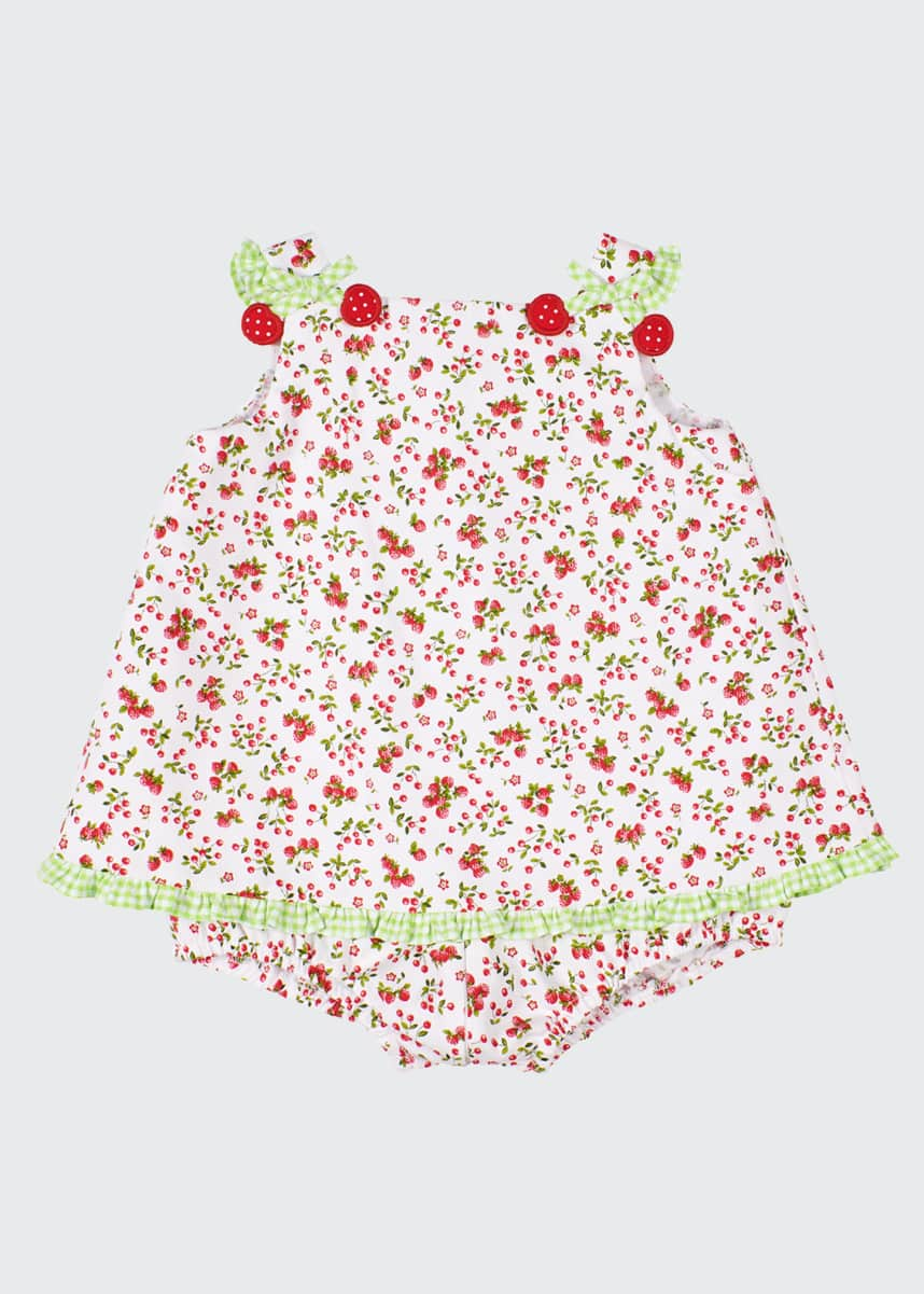 Florence Eiseman Girl's Cherry Print Pique Romper, Size 3-18 Months