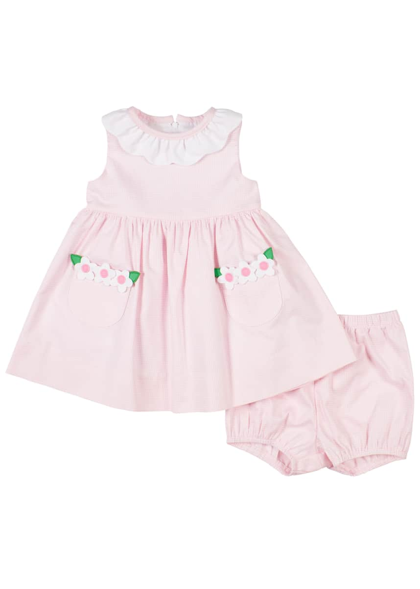 Florence Eiseman Girl's Flower Applique Dress w/ Bloomers, Size 3-24 Months