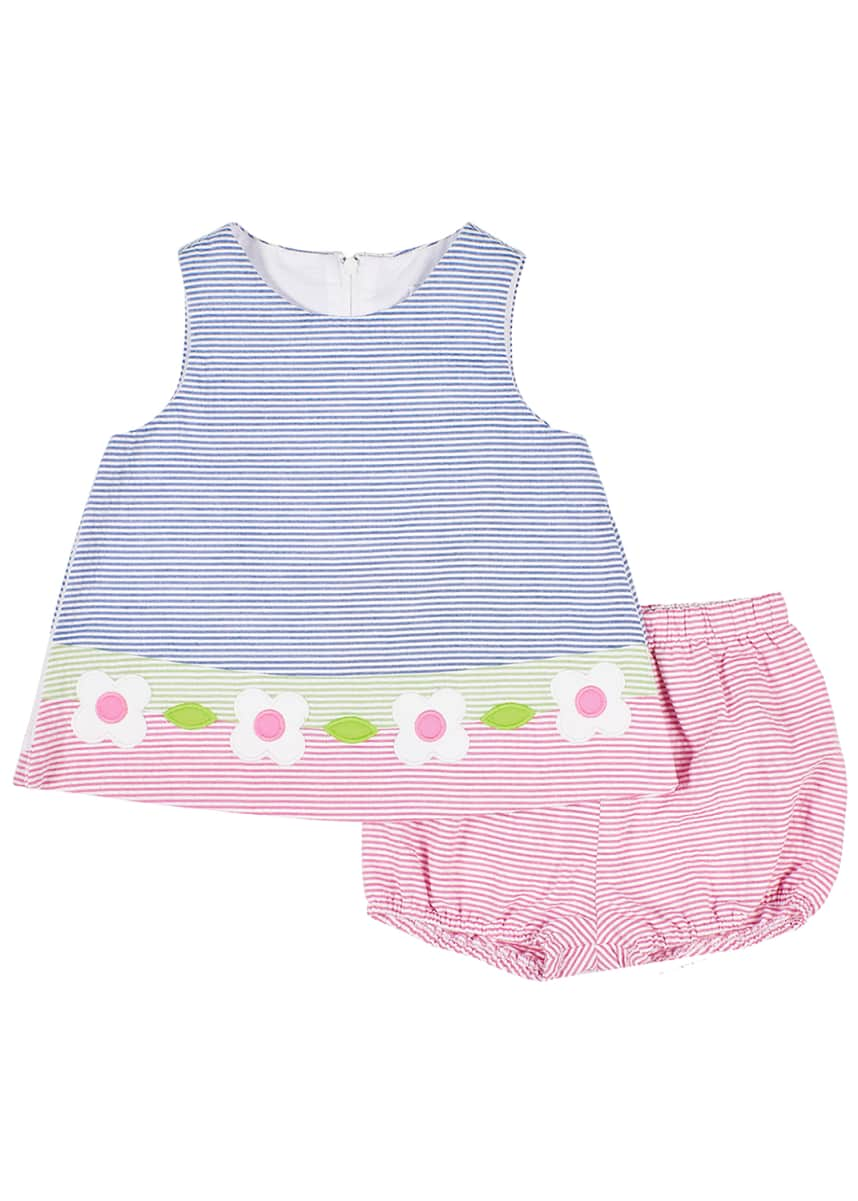Florence Eiseman Girl's Multicolor Seersucker Dress w/ Bloomers, Size 3-24 Months