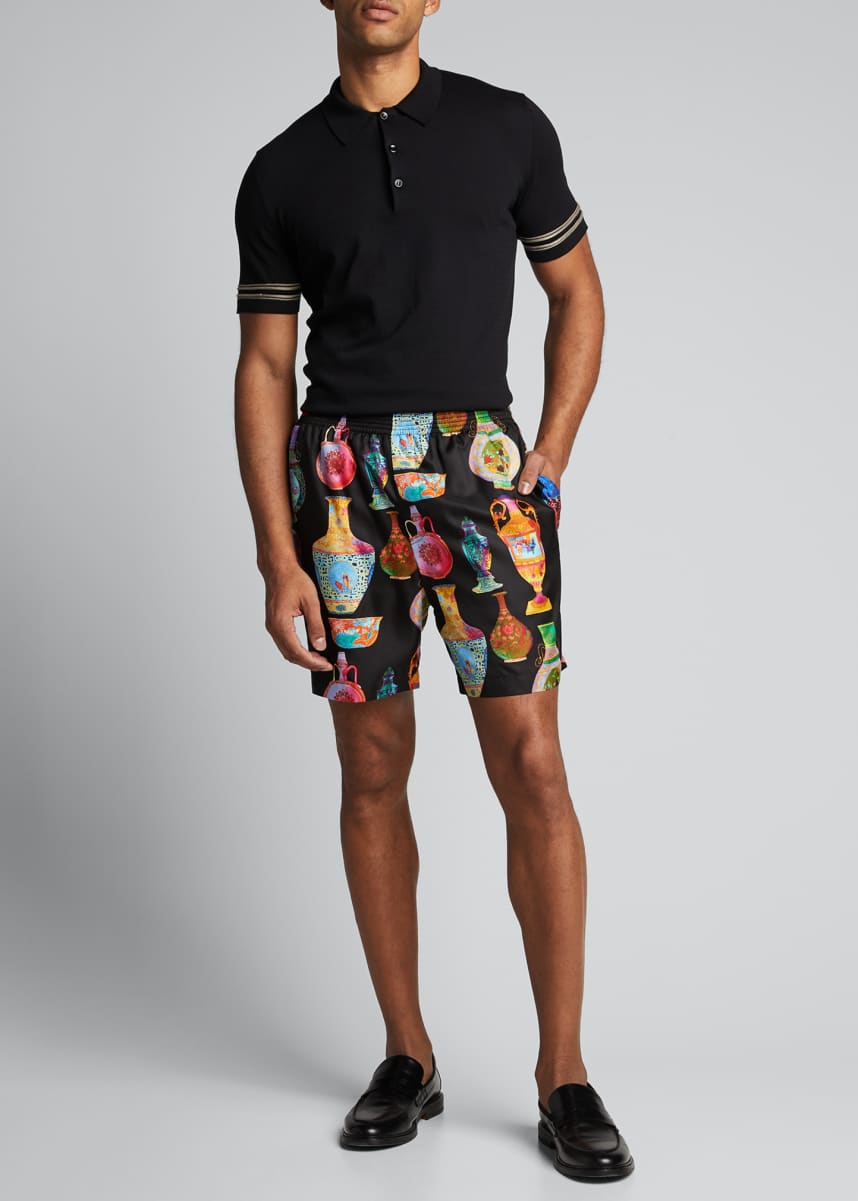 Versace Men's Vase-Print Silk Shorts