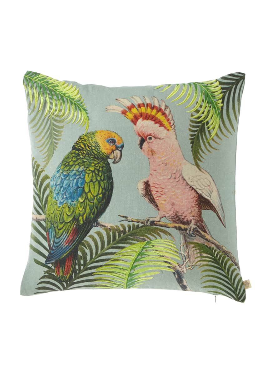 John Derian Parrot & Palm Azure Pillow