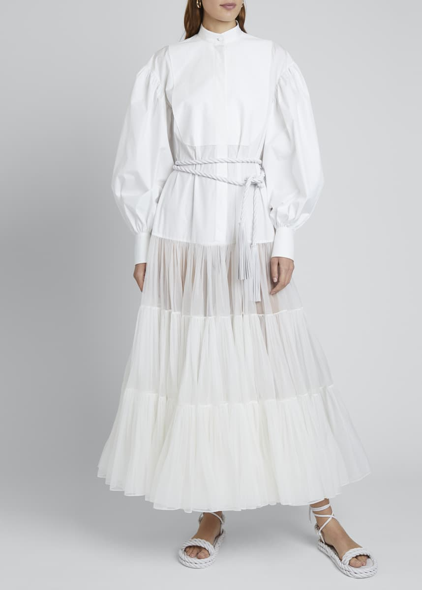 Valentino Long Puff-Sleeve Techno Cotton & Tulle Dress