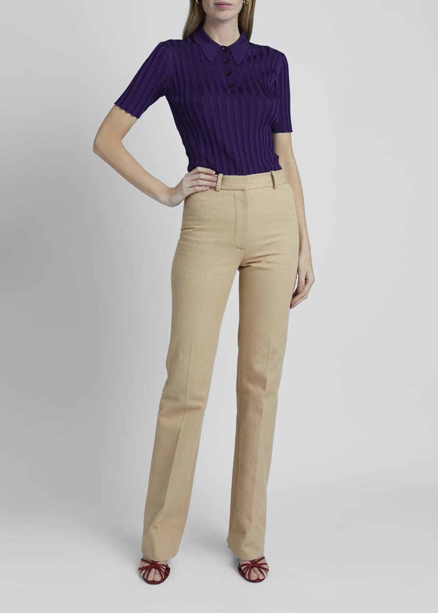 Victoria Beckham Viscose Knit Short-Sleeve Collar Polo Sweater
