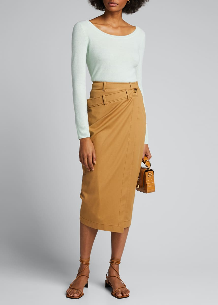 Vince Double Scoop-Neck Cashmere Top