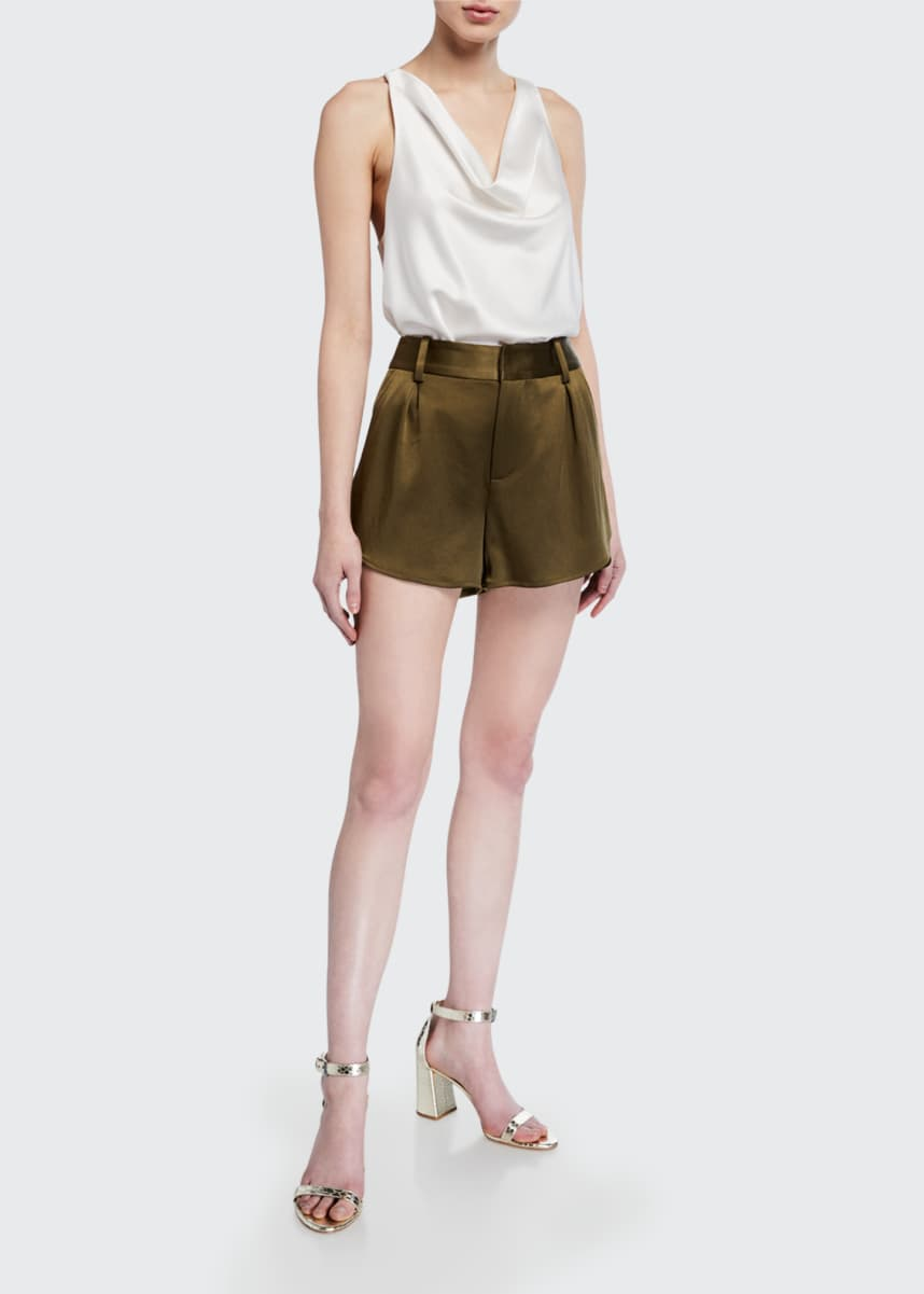 Alice + Olivia Alden High-Waist Butterfly Shorts