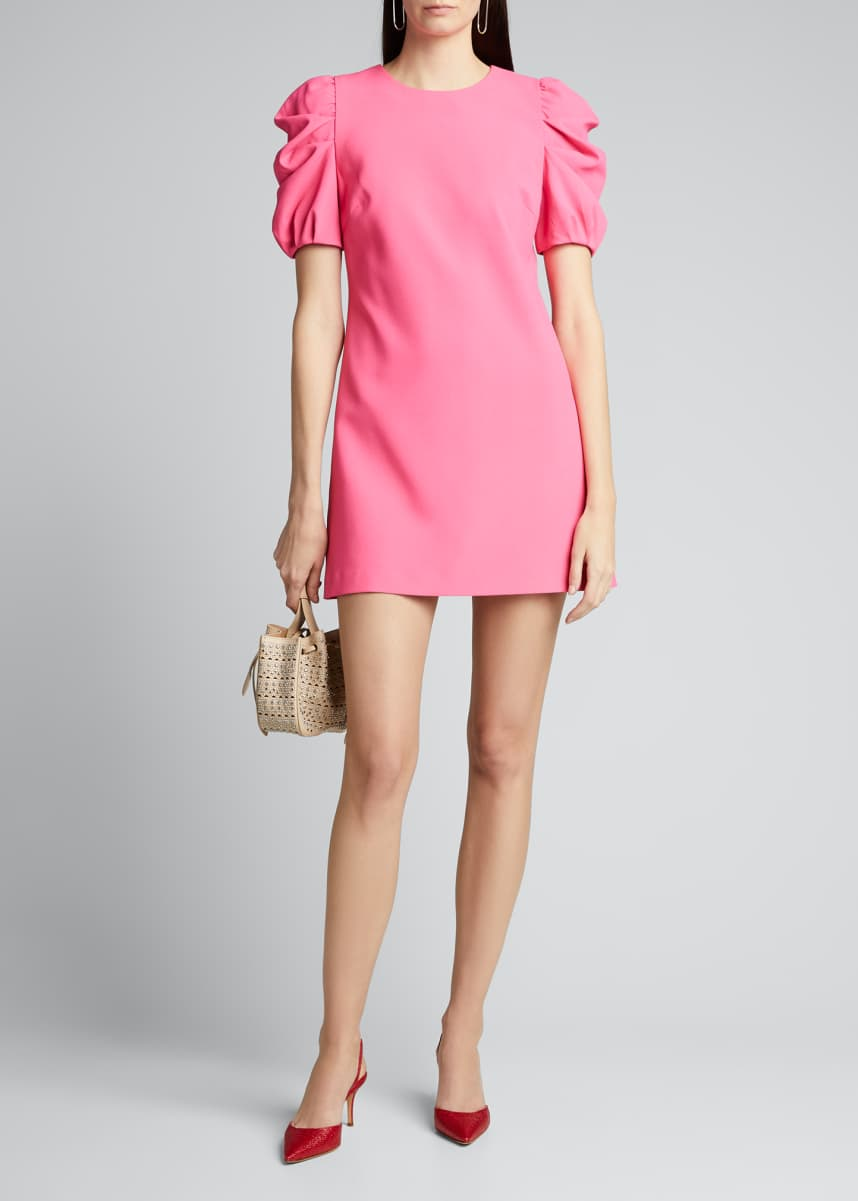 Alice + Olivia Hanita Short Puff-Sleeve Shift Dress
