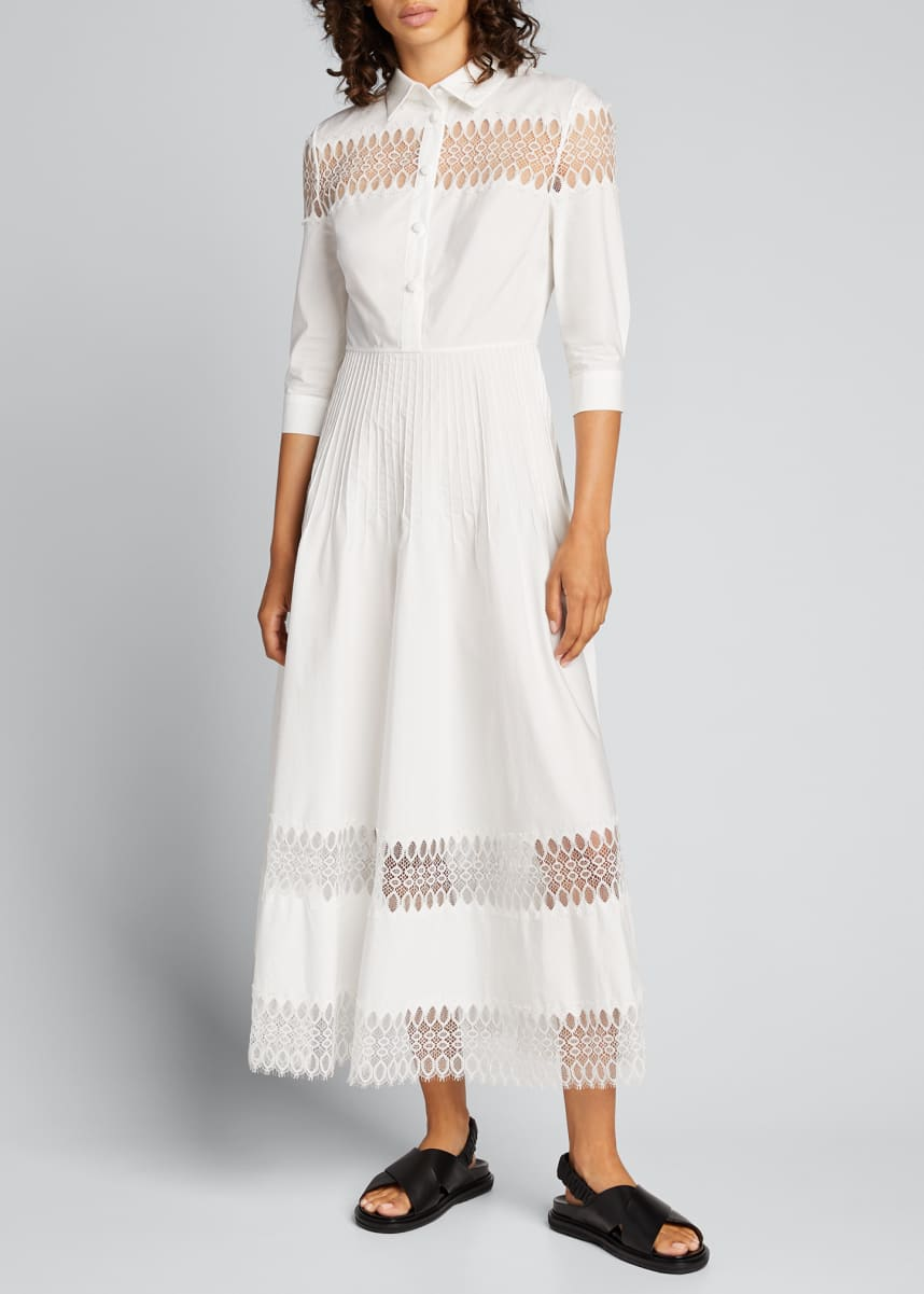 Huishan Zhang 3/4-Sleeve Cotton Midi Shirtdress w/ Lace Insets