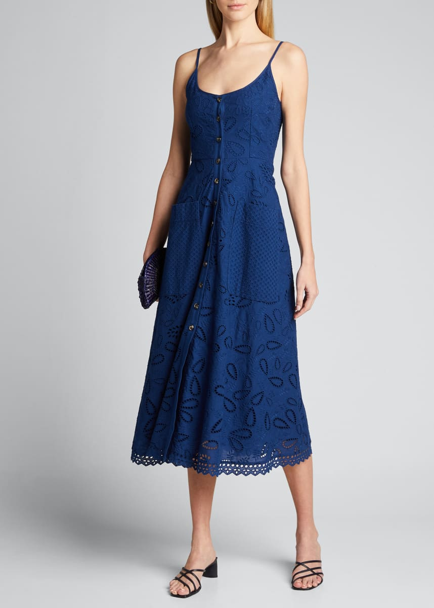 Saloni Fara Cotton Eyelet Midi Dress
