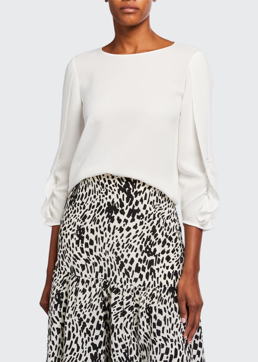 Lafayette 148 New York Perrin Finesse Crepe Blouse