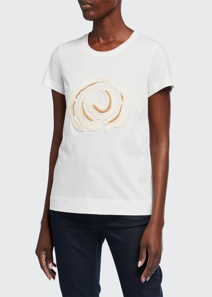 Lafayette 148 New York The Embellished Modern Cotton Jersey Tee