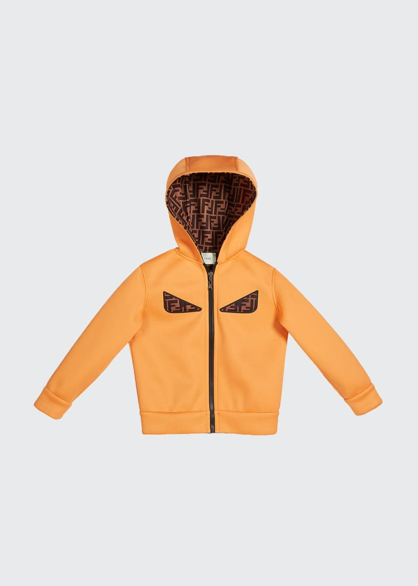 Fendi Boy's Reversible Hooded Logo Jacket with Eyes, Size 4-6