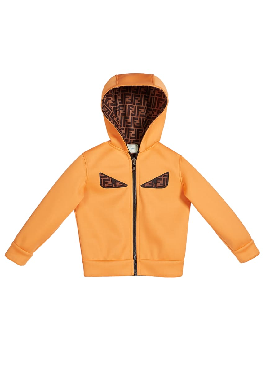 Fendi Boy's Reversible Hooded Logo Jacket with Eyes, Size 8-14