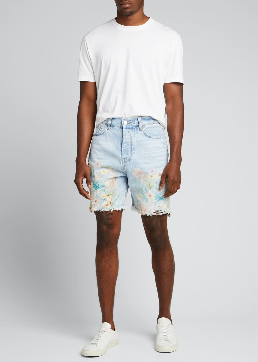Amiri Men's Floral Leaf Denim Shorts
