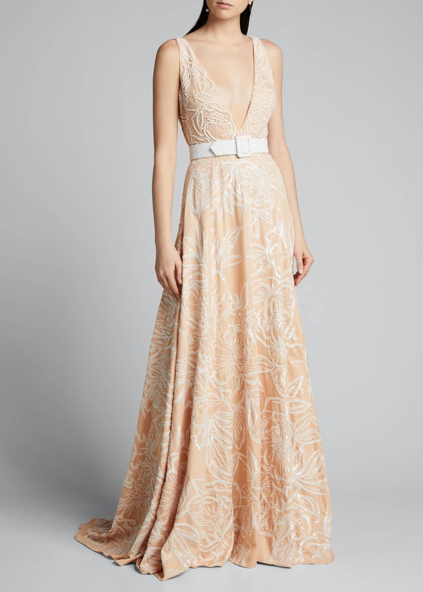 Badgley Mischka Couture Floral Embroidered V-Neck Gown