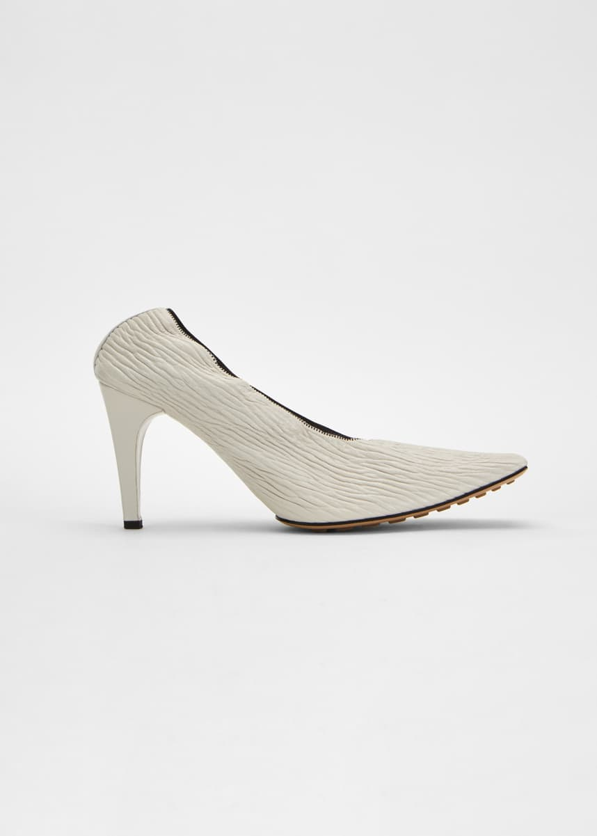 Bottega Veneta 85mm Crunch Leather Square-Toe Pumps