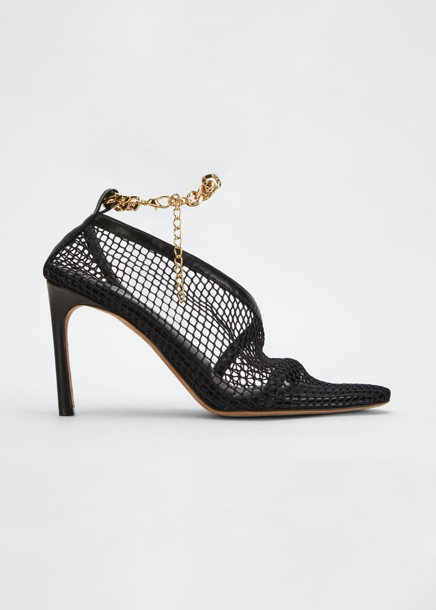 Bottega Veneta 95mm Mesh/Leather Pumps with Ankle Chain