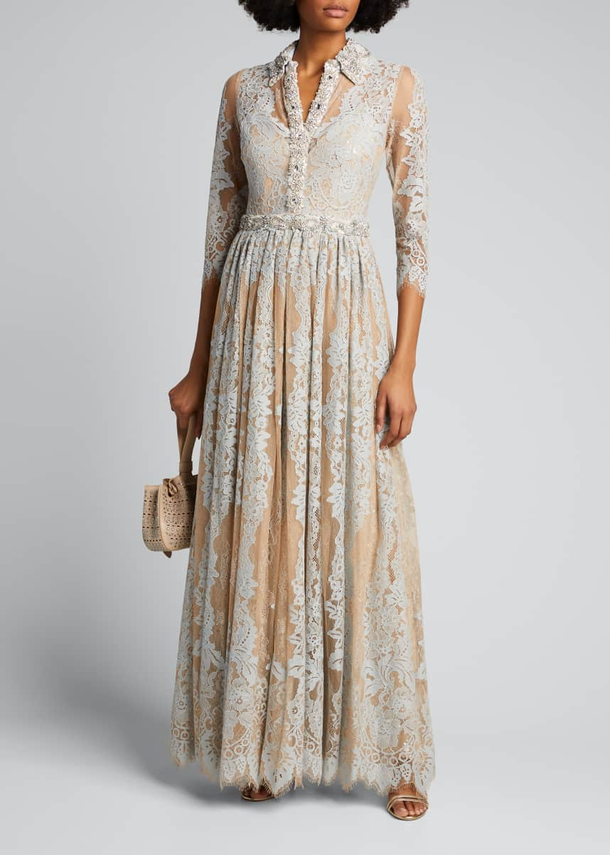 Badgley Mischka Couture Lace Shirtdress Gown