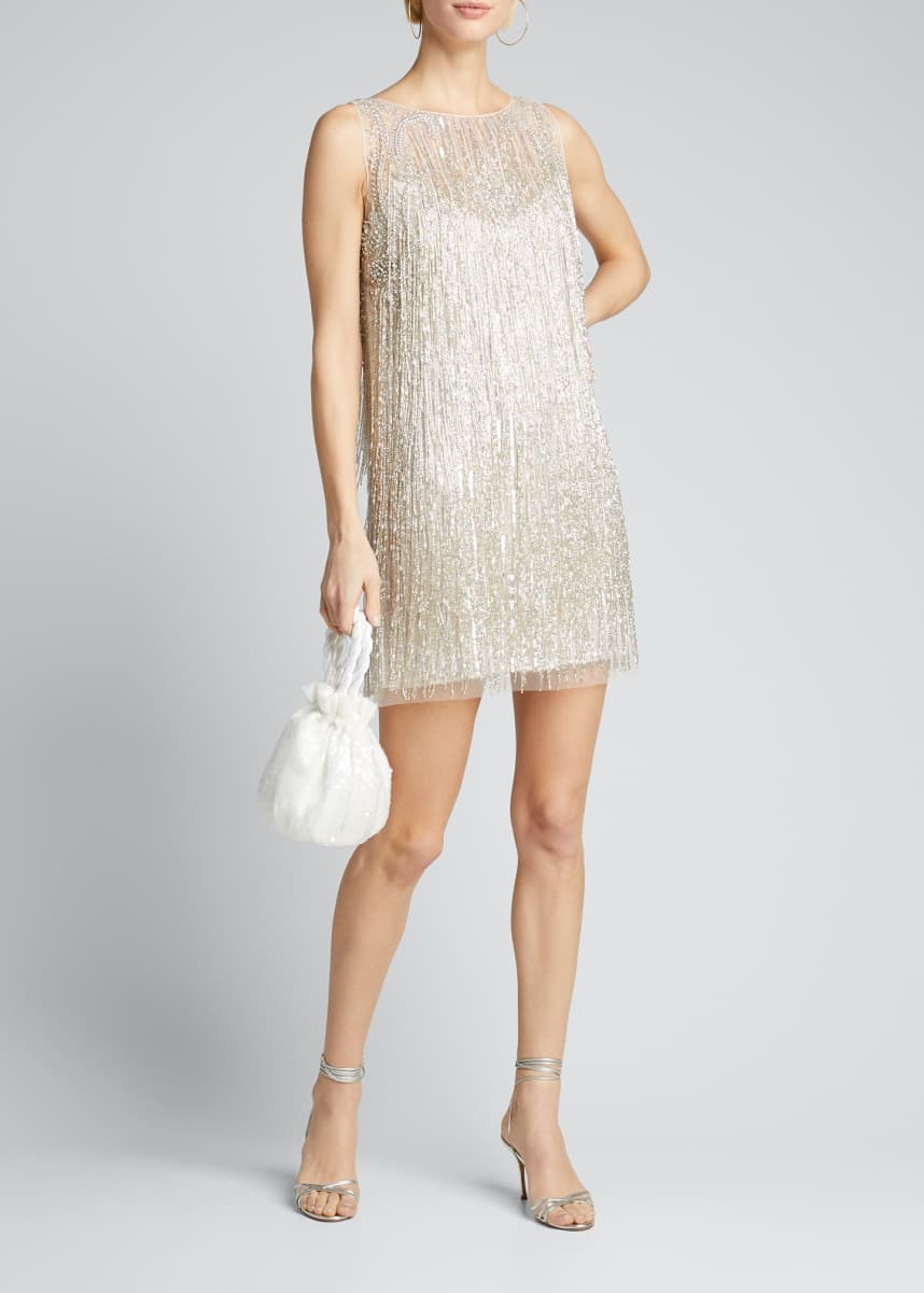 Badgley Mischka Couture Fringed Mini Cocktail Dress