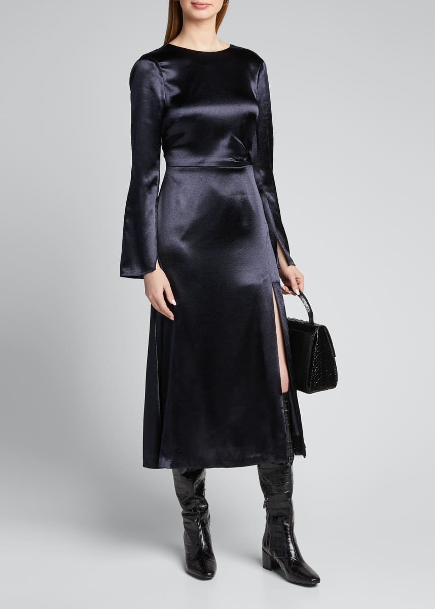 cinq a sept Paulena Slit Long-Sleeve Midi Dress