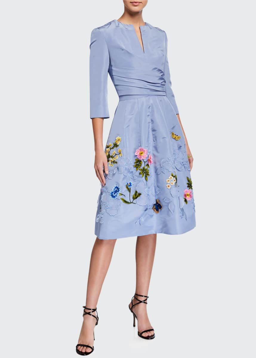 Oscar de la Renta Floral-Embroidered Taffeta Cocktail Dress