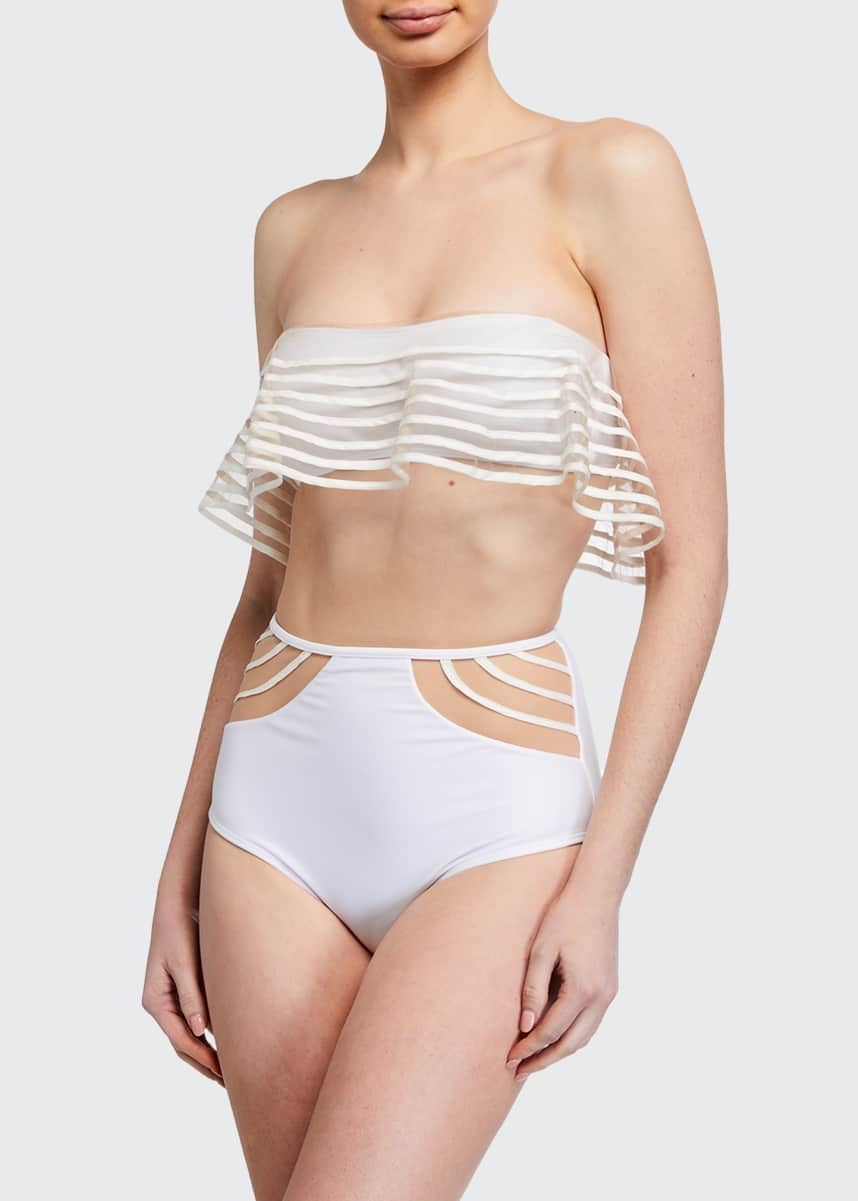 Agua de Coco Striped Tulle Bandeau Bikini Top