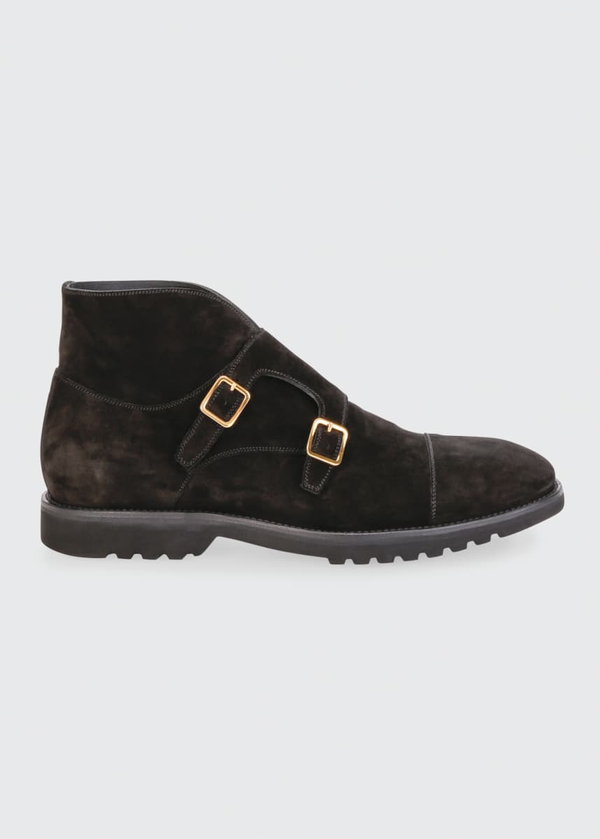 TOM FORD Men's Informal Double-Monk Suede Ankle Boots