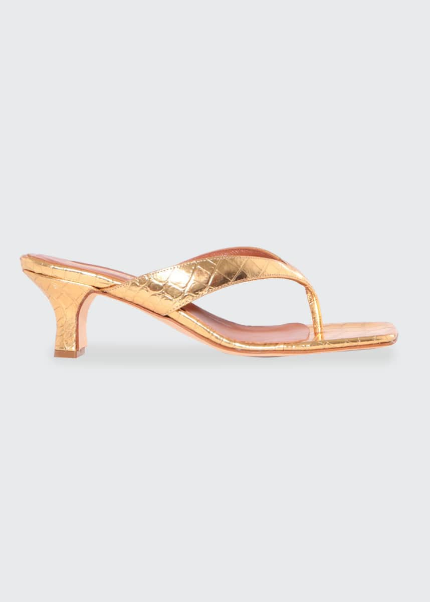 Paris Texas Metallic Mock-Croc Thong Sandals