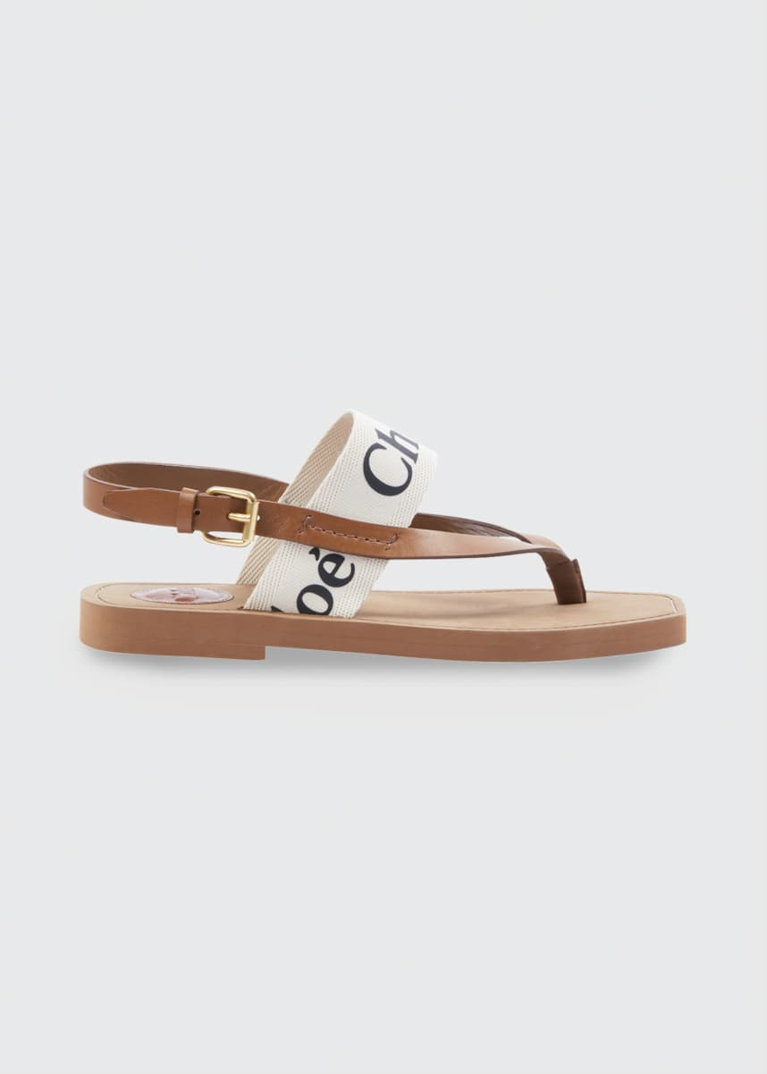 Chloe Canvas Logo Thong Sandals