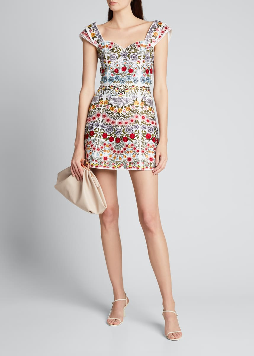 Alice + Olivia Roz Embroidered Pleated-Sleeve Party Dress