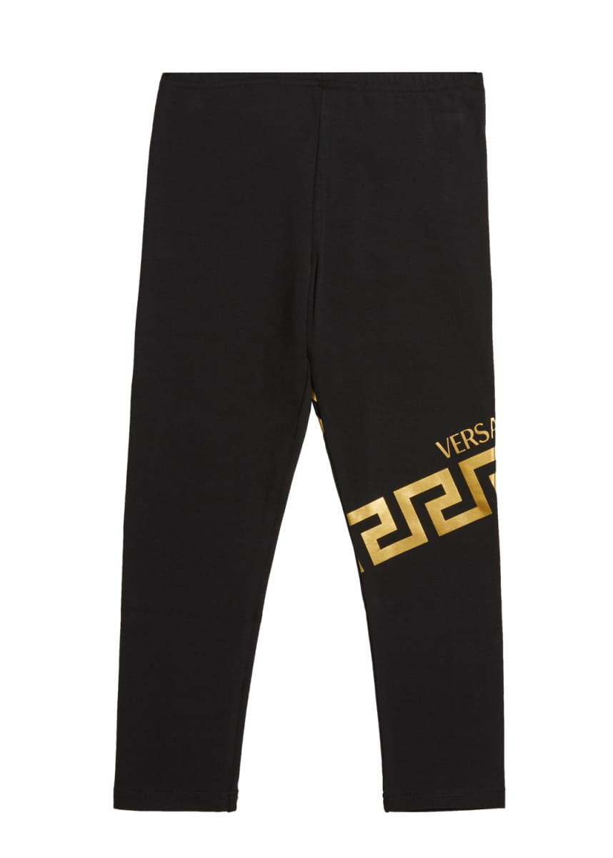 Versace Girl's Logo Trim Stretch Cotton Pants, Size 12-36 Months