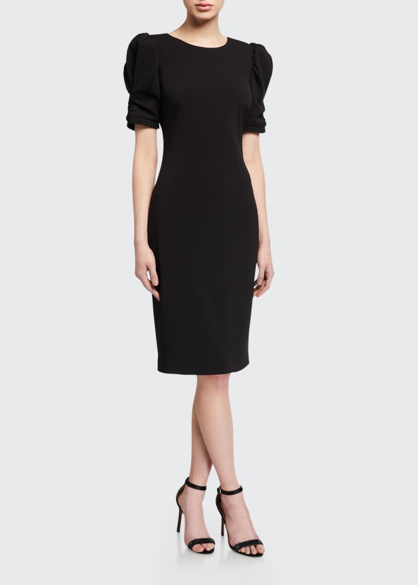 Badgley Mischka Collection Ruched Short-Sleeve Crepe Sheath Dress