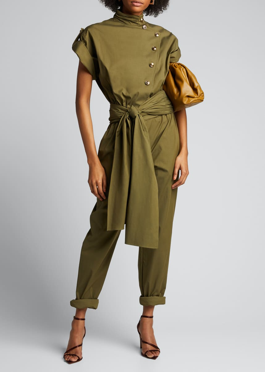 Oscar de la Renta Military Asymmetric Button-Front Jumpsuit