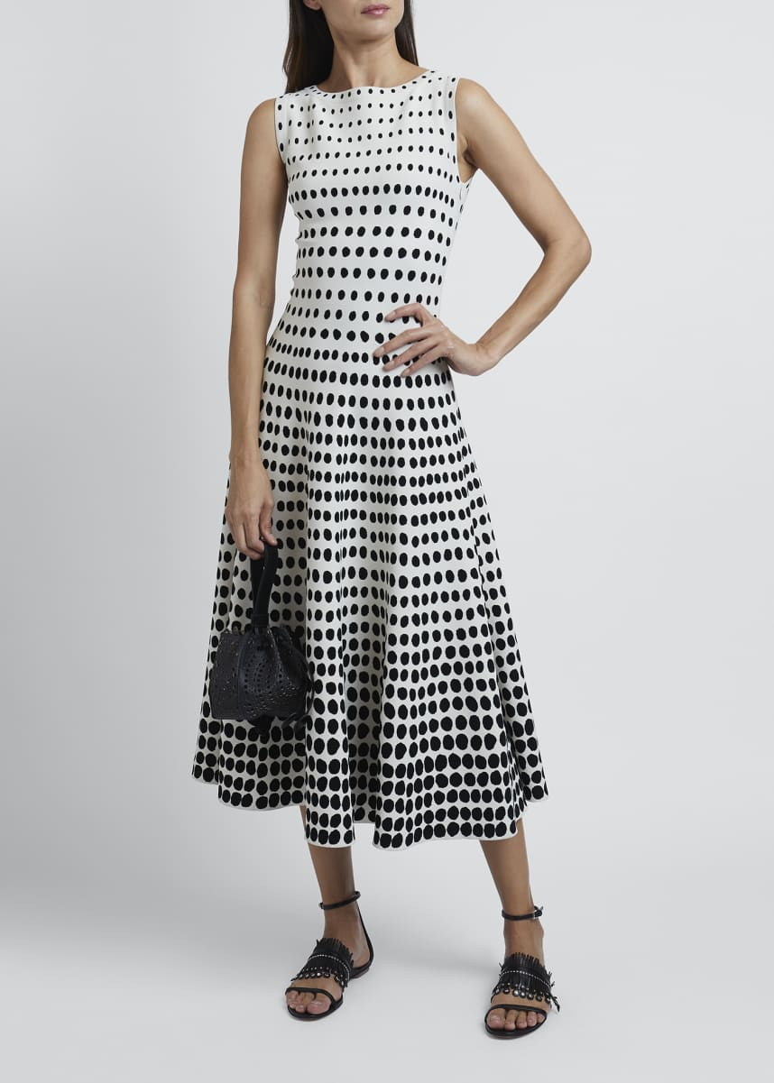 ALAIA Polka-Dot Sleeveless Boat-Neck Dress
