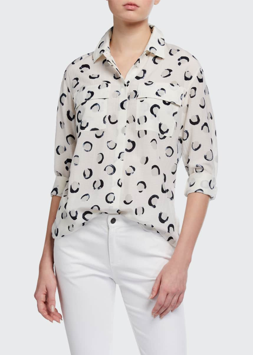 Lafayette 148 New York Zora Crescent Printed Button-Front Seersucker Blouse