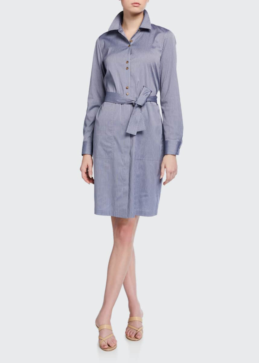 Lafayette 148 New York Michelle Felicity Stripe Long-Sleeve Shirtdress